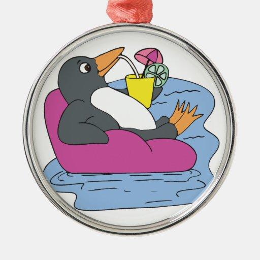 penguin on vacation christmas tree ornaments