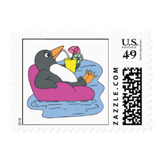 penguin on vacation stamp