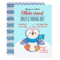 Penguin Onederland First Birthday Invitation