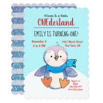 Penguin Onederland First Birthday Invitation