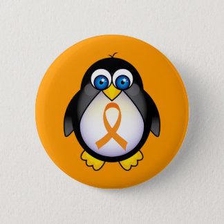 Penguin Orange Ribbon Of Awareness Gift Pinback Button