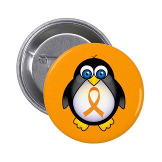 Penguin Orange Ribbon Of Awareness Gift Pinback Button