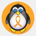 Penguin Orange Ribbon Of Awareness Gift Sticker