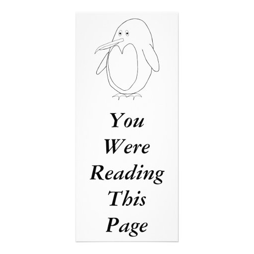 Penguin Outline Bookmark Template Rack Card Template