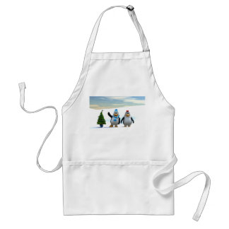 Penguin Pair with Tree Adult Apron