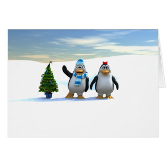 Penguin Pair with Tree Card