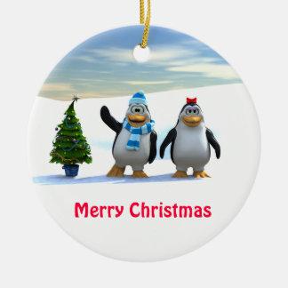 Penguin Pair with Tree Ceramic Ornament