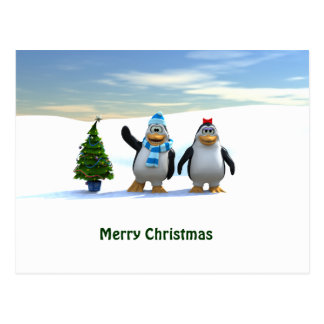 Penguin Pair with Tree Post Cards