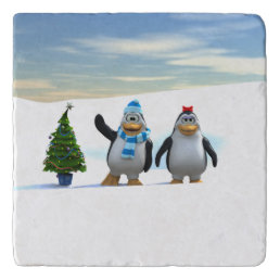 Penguin Pair with Tree Trivet