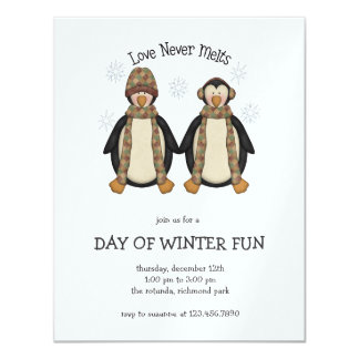 "Penguin Pals · Love Never Melts 4.25"" X 5.5"" Invitation Card"