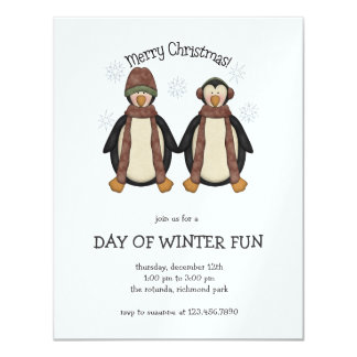 "Penguin Pals · Merry Christmas 4.25"" X 5.5"" Invitation Card"
