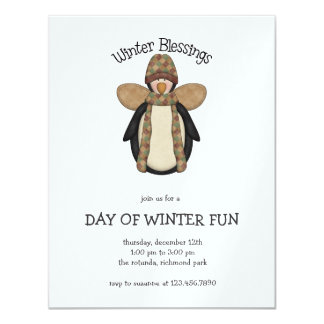 "Penguin Pals · Winter Blessings 4.25"" X 5.5"" Invitation Card"