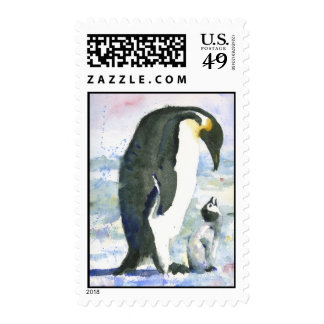 Penguin Parent and Baby Winter Holiday Postage Stamp