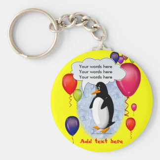 Penguin Party Animal Basic Round Button Keychain