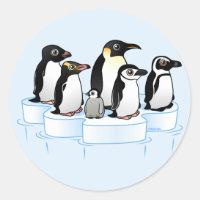 Penguin Party Round Sticker