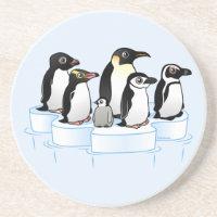 Penguin Party Sandstone Drink Coaster