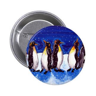 Penguin Party Fun Folk Art Pinback Button