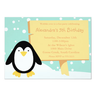 """Penguin Party Invitation 5"""" X 7"""" Invitation Card"""