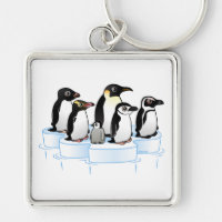 Penguin Party Premium Square Keychain