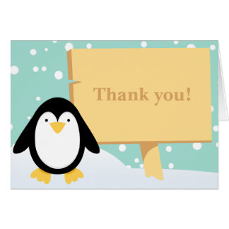 Penguin Party Thank You Card Greeting Card
