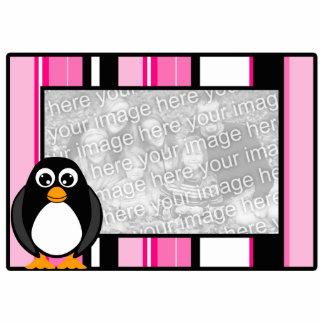 Penguin Photo Sculpture Pink Stripes Frame