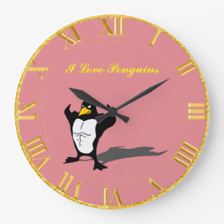 Penguin Pink And Gold Clock