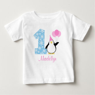 Penguin Pink Blue Girl Winter Onederland Birthday Infant T-shirt