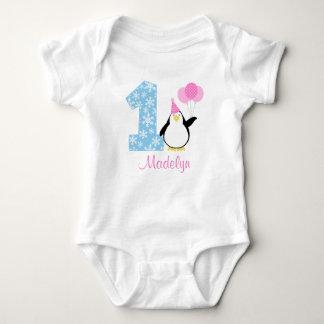 Penguin Pink Blue Girl Winter Onederland Birthday Tshirts