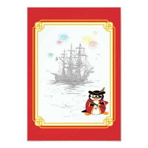"Penguin Pirate RSVP Card 3.5"" X 5"" Invitation Card"