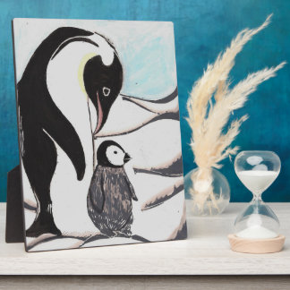 Penguin Plaque, 8x10 Inches with Easel