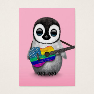 Penguin Playing American Rainbow Flag Guitar Pink Business Card