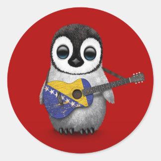 Penguin Playing Bosnia-Herzegovina Flag Guitar Red Classic Round Sticker