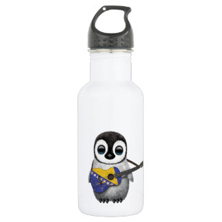 Penguin Playing Bosnia-Herzegovina Flag Guitar Stainless Steel Water Bottle