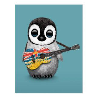 Penguin Playing British Columbian Flag Guitar Blue Post Card