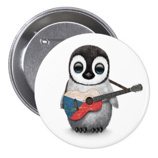 Penguin Playing Czech Republic Flag Guitar 3 Inch Round Button