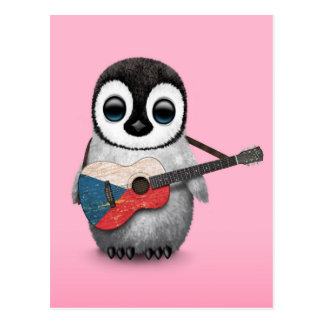 Penguin Playing Czech Republic Flag Guitar Pink Postcard