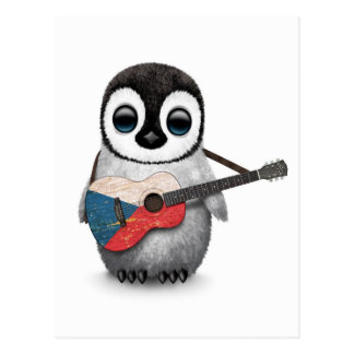 Penguin Playing Czech Republic Flag Guitar Postcard