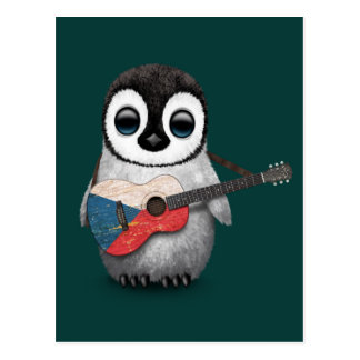 Penguin Playing Czech Republic Flag Guitar Teal Postcard