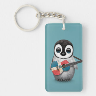 Penguin Playing Dominican Republic Flag Guitar Blu Keychain