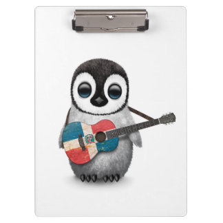 Penguin Playing Dominican Republic Flag Guitar Clipboards
