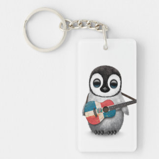 Penguin Playing Dominican Republic Flag Guitar Keychain