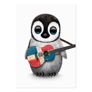 Penguin Playing Dominican Republic Flag Guitar Large Business Card
