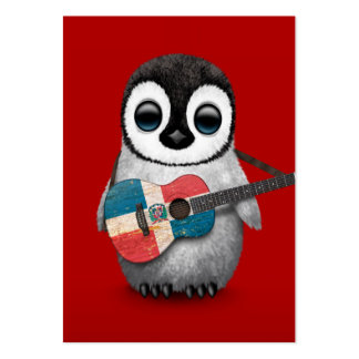 Penguin Playing Dominican Republic Flag Guitar Red Business Card Template