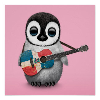 Penguin Playing Dominican Republic Guitar Pink Poster