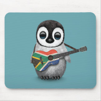Penguin Playing South African Flag Guitar Blue Mousepads