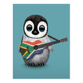 Penguin Playing South African Flag Guitar Blue Postcard