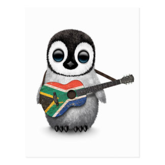 Penguin Playing South African Flag Guitar Postcard