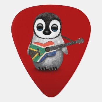 Penguin Playing South African Flag Guitar Red Guitar Pick by crazycreatures at Zazzle
