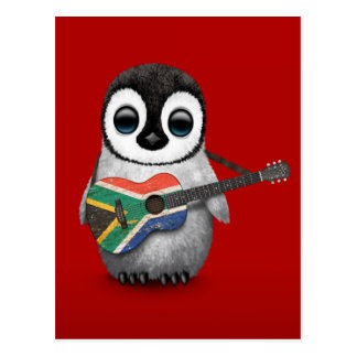 Penguin Playing South African Flag Guitar Red Postcard