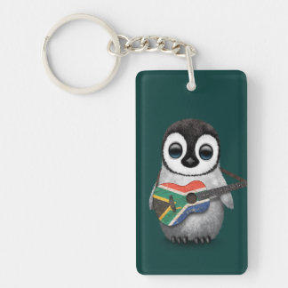 Penguin Playing South African Flag Guitar Teal Keychain